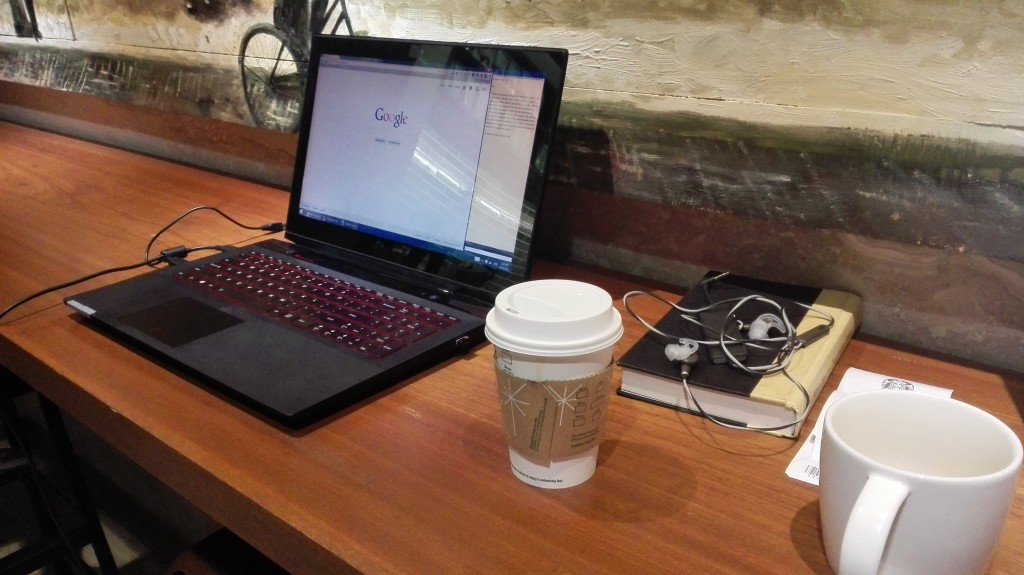 My temporary workstation at a Starbucks in Hanoi
