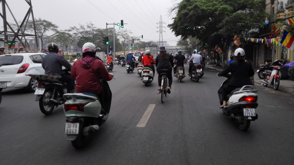 Morning commute in Hanoi