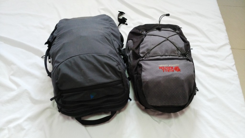 My two packed bags