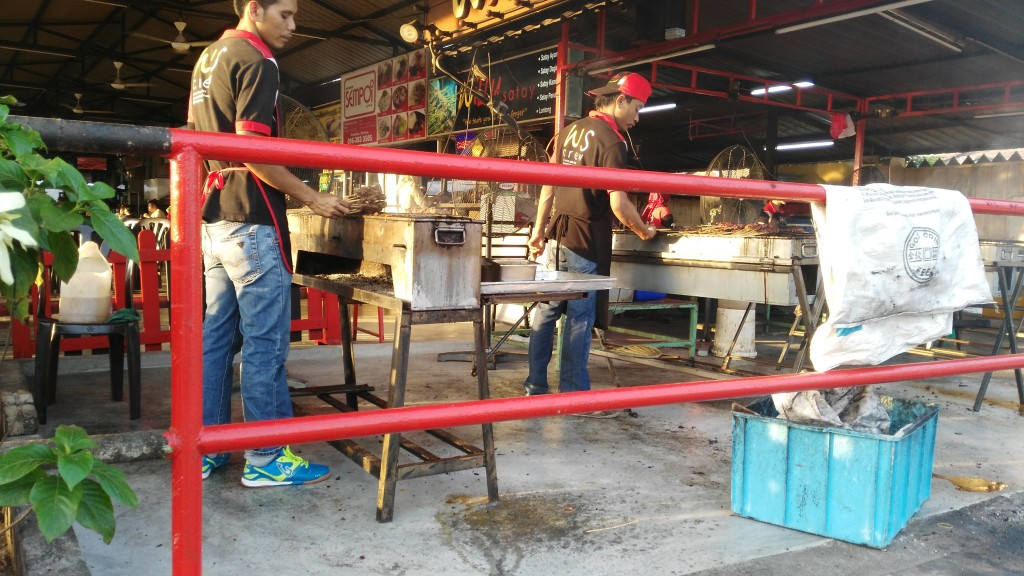 Grillmasters during preparing Satay, Kajang's specialty